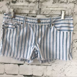 Levi's Striped Frayed Jean Shorts Size 5 Juniors
